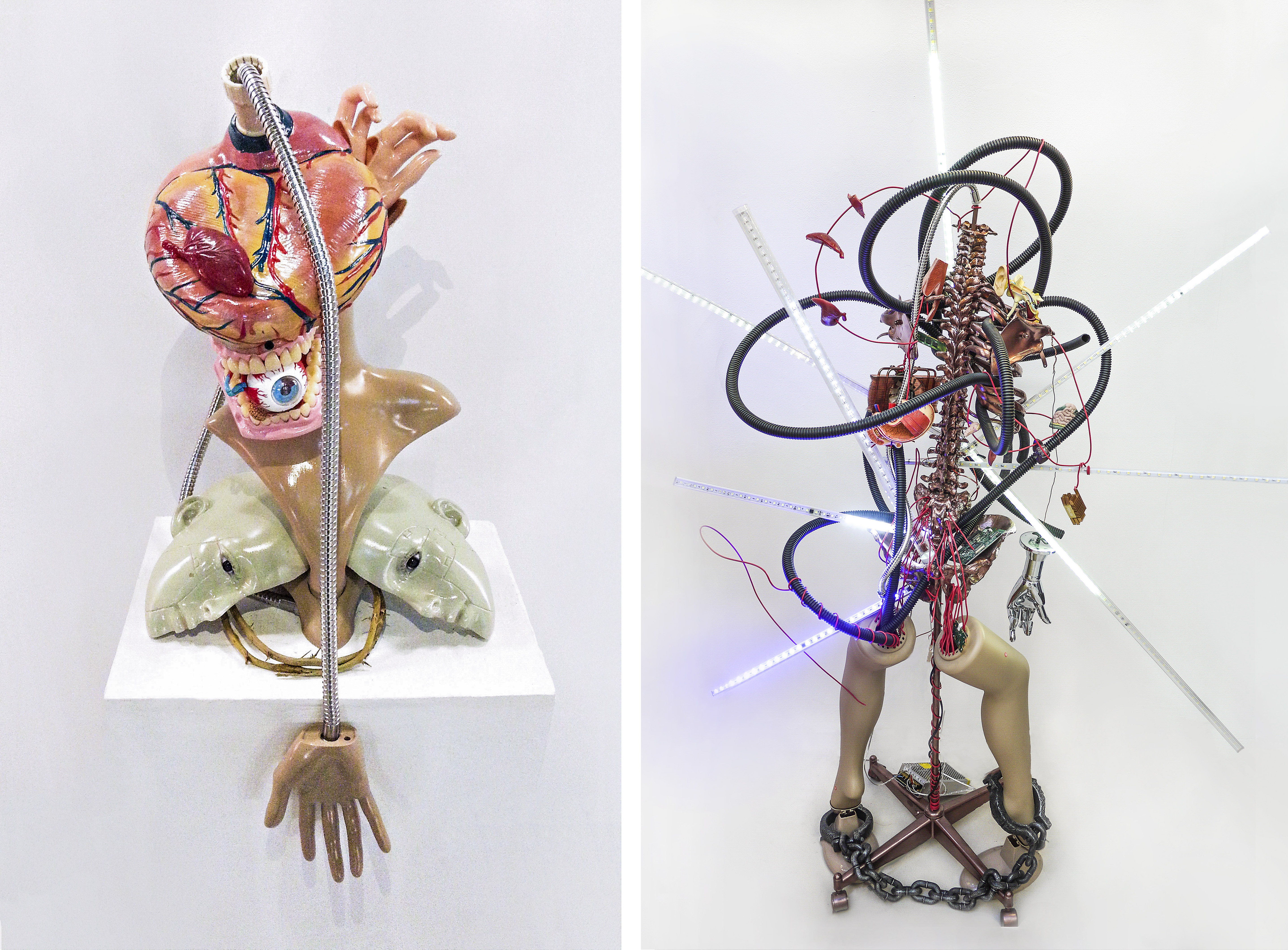 12 Homosacer1-1, Homosacer 4, dummy, anatomy model, motion sensor, dc-motor, wire, LED light, mixed media, 40x30x60(cm) 2015