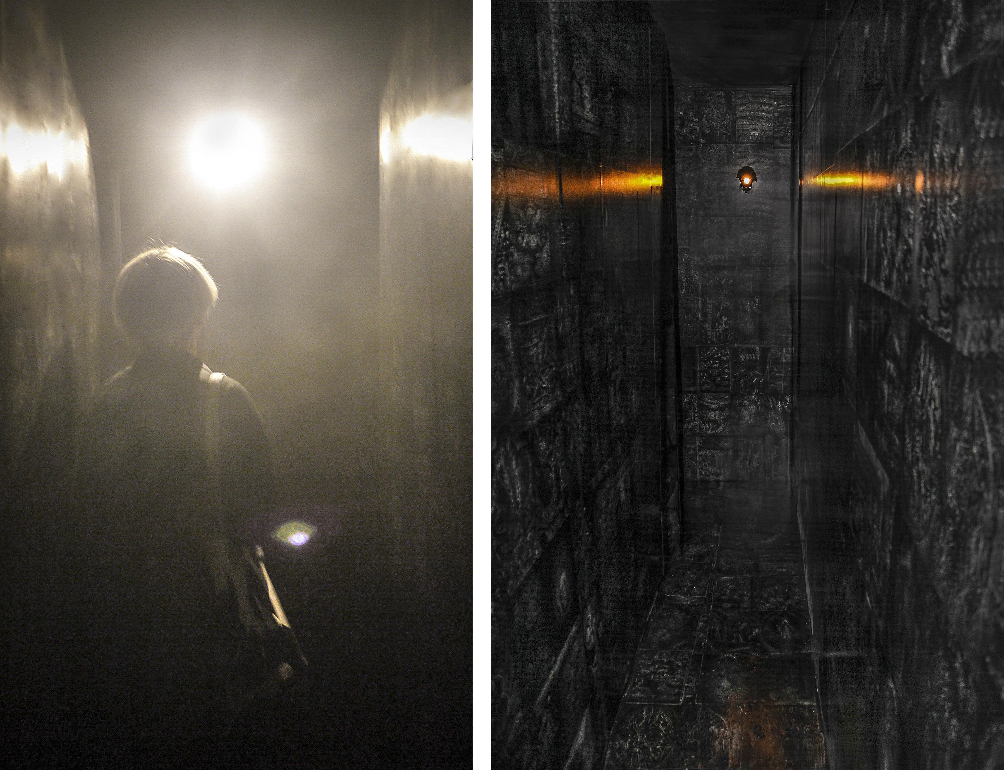 17 Toroidal(passage #5,7), motion sensor light, speaker, pigment print, mixed media, dimensions variable, 2014