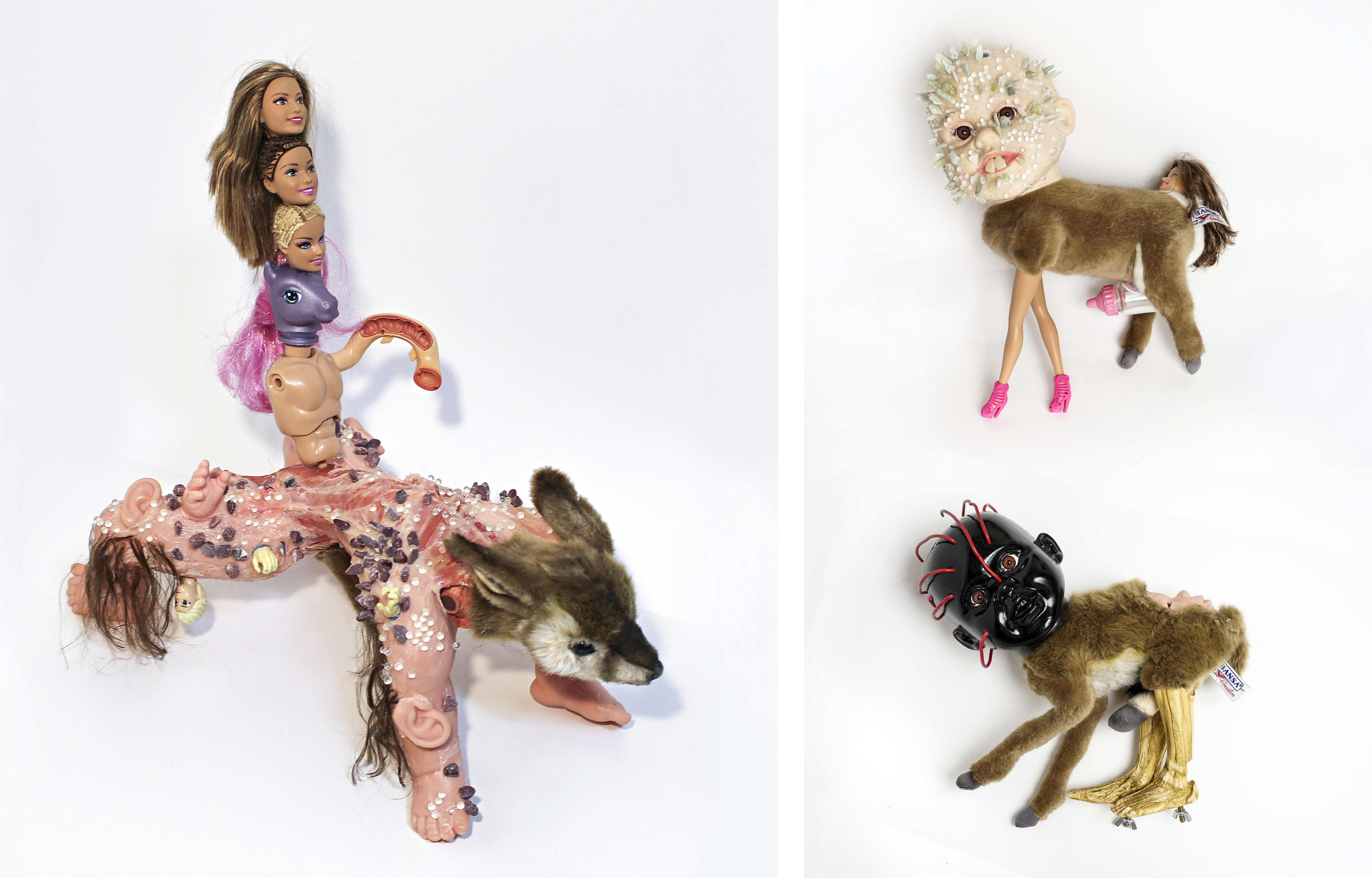 8 Anagram 9, Anagram 3,4, doll, anatomy model, glass bead, gravel, silicone, hair, mixed media, 30x40x30(cm), 2016