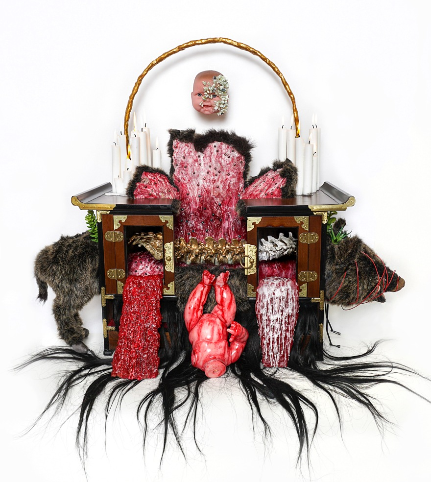 5 The altar of boar, antique furniture, baby doll, stuffed animal, human dummy, paraffin, hair, silicon, mixed media, 78x90x42cm, 2017.jpg