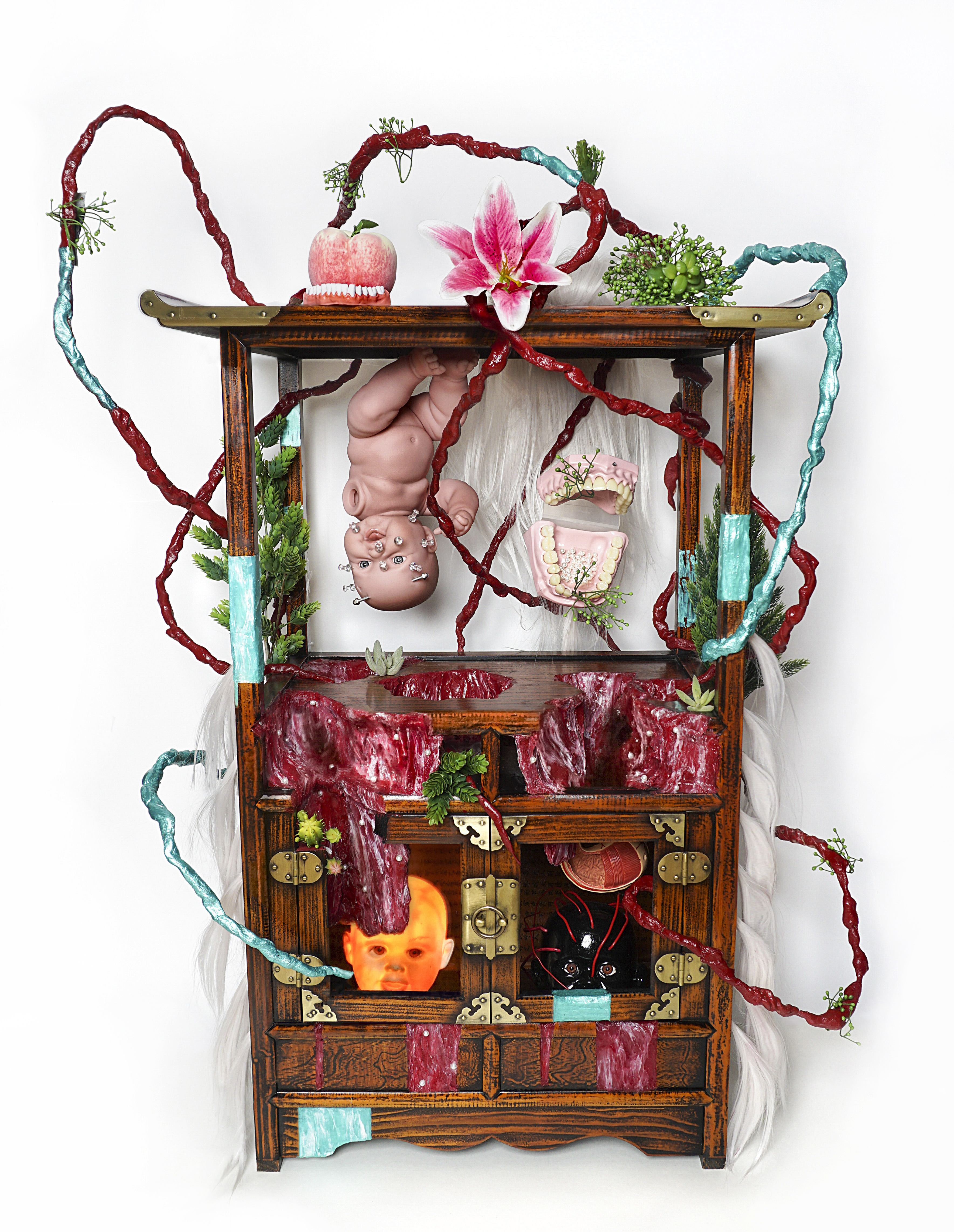 6 The altar of baby, antique furniture, baby doll, human dummy, paraffin, hair, artificial flower, silicon, mixed media, 60x100x45(cm).jpg