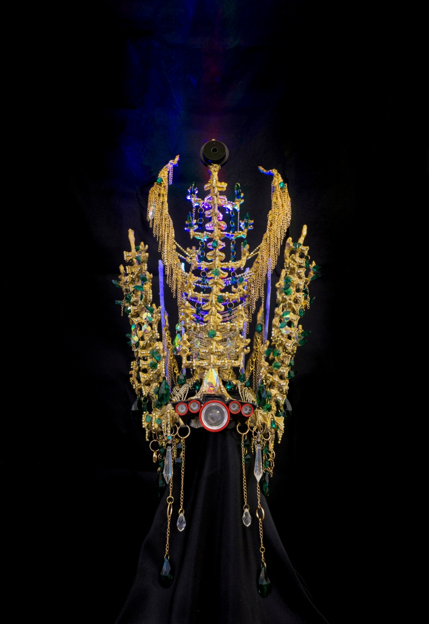 Yeom-la Daewang Crown1, security camera, LED light, laser, rhinestone, crystal, chain, resin, epoxy clay, silicone, 22.5x14.5x10.5, 2019.jpg