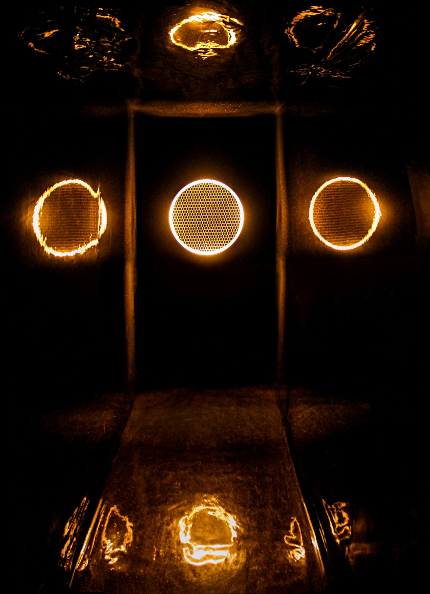 16 Toroidal(passage #9), motion sensor, LED light, stainless steel, speaker, wallpaper, mixed media, dimensions variable, 2014.jpg